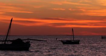 Coucher soleil iles Kerkennah archipel Tunisie