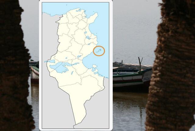 Carte (map) de Tunisie Situation géographique des archipels de Kerkennah