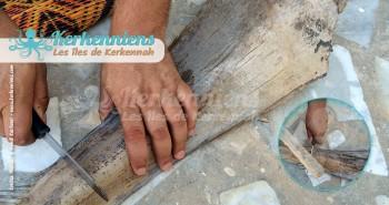 Construire un flouka Sculpter la spathe/Garnef avec un couteau
