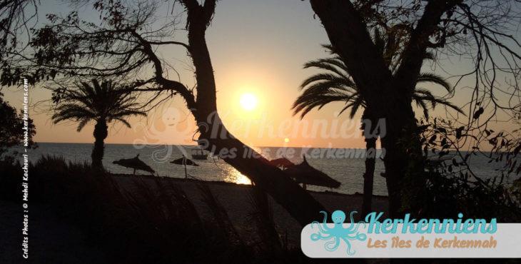 Coucher et ombre de soleil à Kerkennah