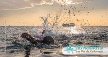 Baignade au coucher de soleil Kerkennah juin 2016 - Pierre Gassin