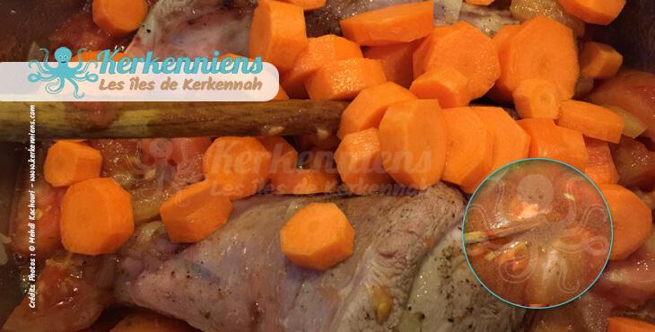 Lentilles (A3dass) fondantes à l'agneau recette cuisine carottes coupées en rondelles