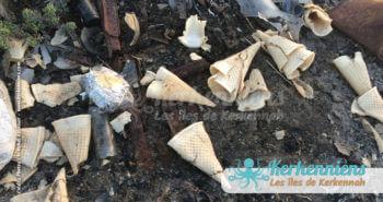 Cornets de glace en gaspillage propreté vue par Kerkennah