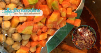 Morceaux de carottes et pois chiche pour le couscous bel besbès et chouabi la recette de cuisine