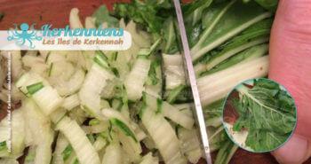 Feuilles de blettes coupées finement pour le couscous bel besbès et chouabi la recette de cuisine