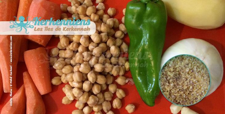 Recette de cuisine Market Khodhra bel Karnit Borghol et ingrédients
