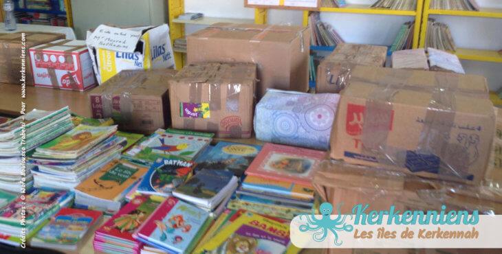 collecte généreuse auprès de nombreux donateurs, bibliothèque Ouled Yaneg, Kerkennah