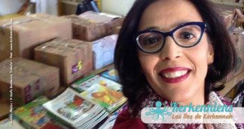 Selfie de Wafa avec la collecte des livres bibliothèque Ouled Yaneg, Kerkennah