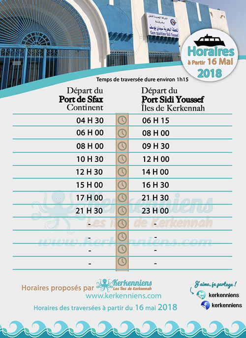 Horaires du Battah (bac) SONOTRAK du 16 au 31 mai 2018 de Kerkennah (Sfax Kerkennah) - Horaires Ramadan 2018