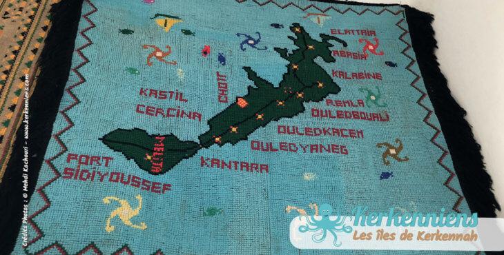 Tarf broderie carte des îles de kerkennah de Tata Souad Mehgdich