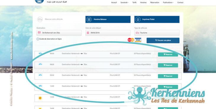 Choisir vos dates et heures de départ et retour - Réservation du bateau pour votre véhicule Sfax Kerkennah SONOTRAK