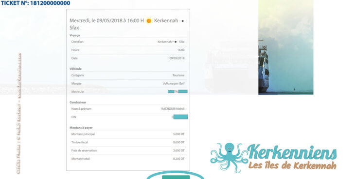 Imprimez votre titre de transport - Réservation du bateau pour votre véhicule Sfax Kerkennah SONOTRAK