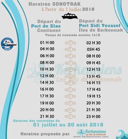 Horaires du bac Sfax Kerkennah SONOTRAK du 01 juillet au 20 août 2018