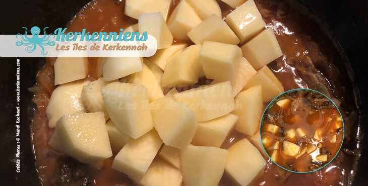 Ajouter pomme de terre Recette chakchouka tunisienne bel kadid