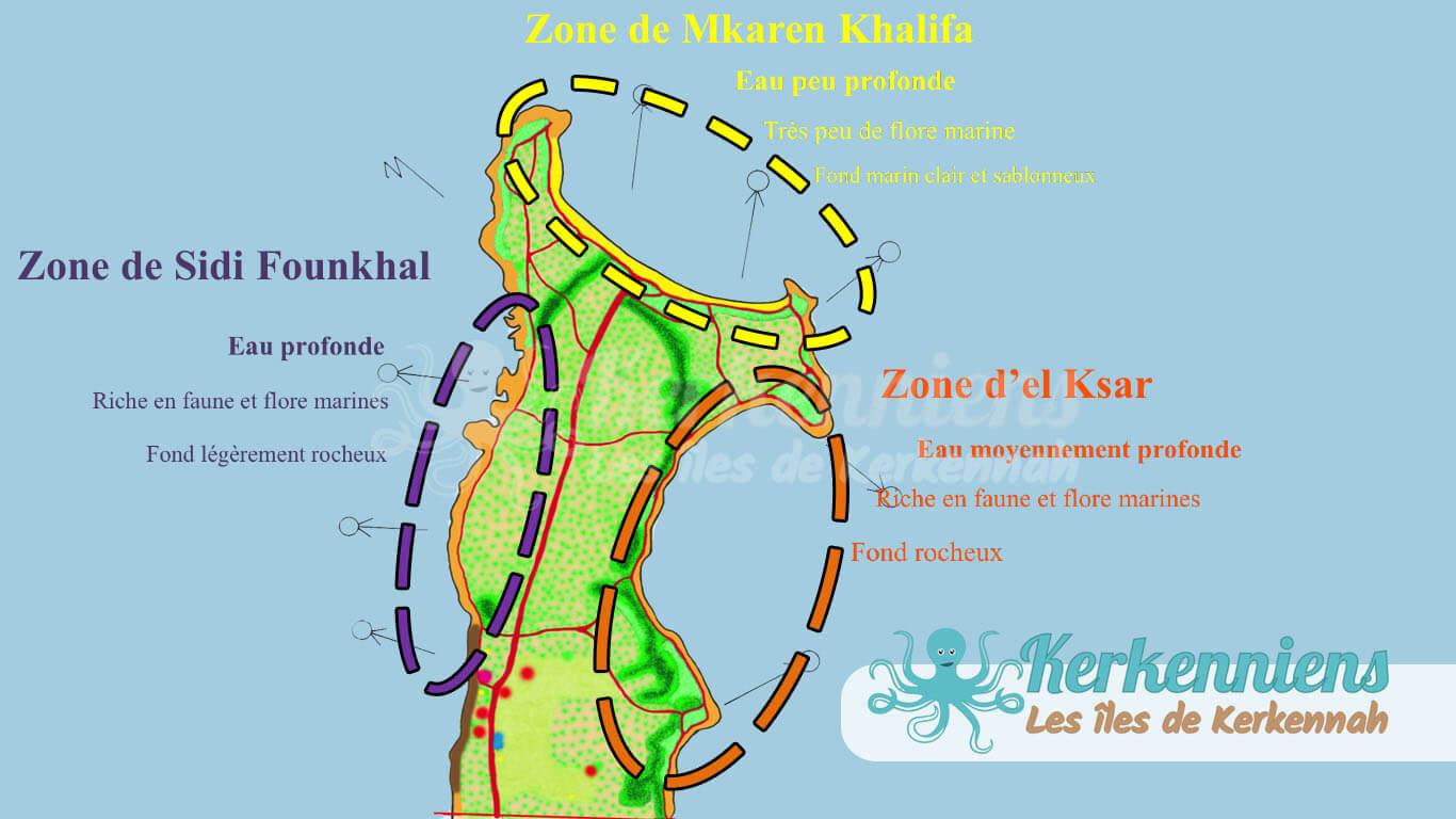 Caractéristiques des côtes littorales Zone de Sidi Founkhal Zone de Mkaren Khalifa Zone d'el Ksar Kerkennah