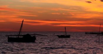 Coucher de soleil Îles de Kerkennah un archipel de Tunisie