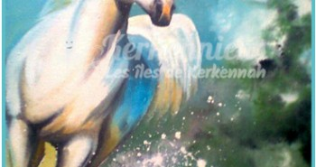 Salah Bchir cheval peinture Kerkennah El maghaza