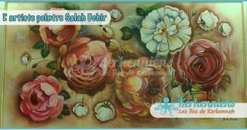 Salah Bchir composition florale peinture Kerkennah El maghaza
