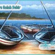 Salah Bchir flouka plage peinture Kerkennah