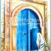 Salah Bchir porte maison bleu peinture Kerkennah