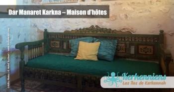 Une banquette Dar Manaret Karkna maison hôtes Kerkennah Tunisie