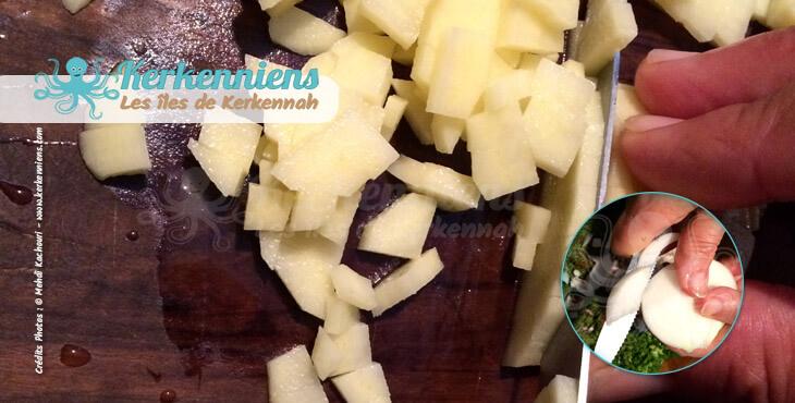 Coupez votre oignon (Bsall) et pomme de terre couscous aux calmars farcis (Kosksi bel mattik mehchi)