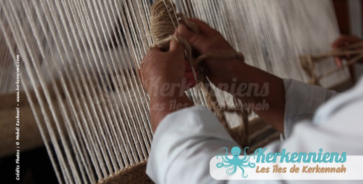 Fabrication artisanale de tapis l'atelier d'Ouled Kacem Artisanat Kerkenniens Atelier Kerkenatiss