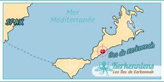 Carte Map Ils de Kerkennah Dar Manaret Karkna Maison d'hôtes à Kerkennah