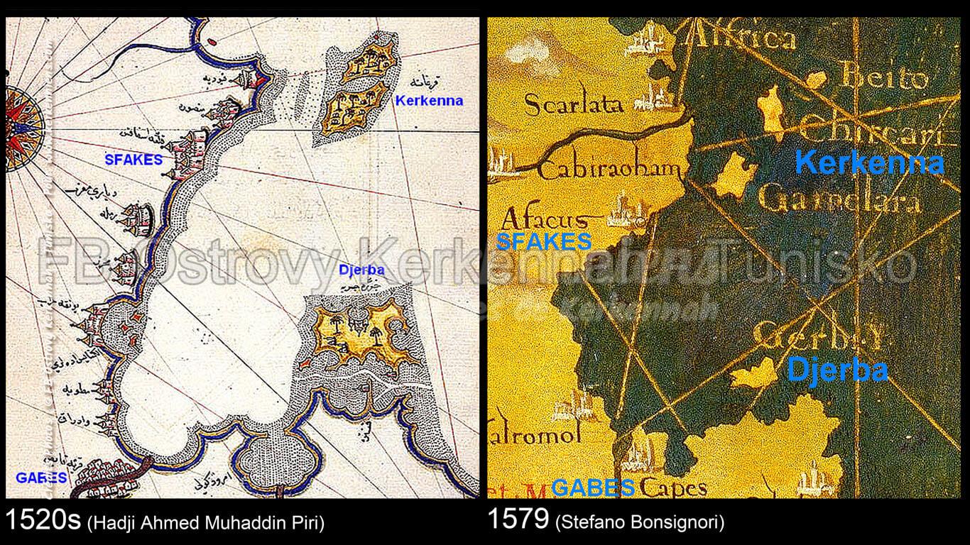 Iles de Kerkennah sur des cartes anciennes (1520 et 1579) Influences ottomanes et italiennes