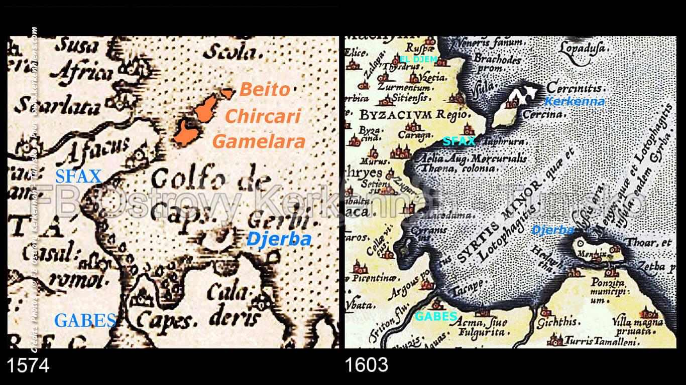 Iles de Kerkennah sur des cartes cartographique ancienne (1574 et 1603)