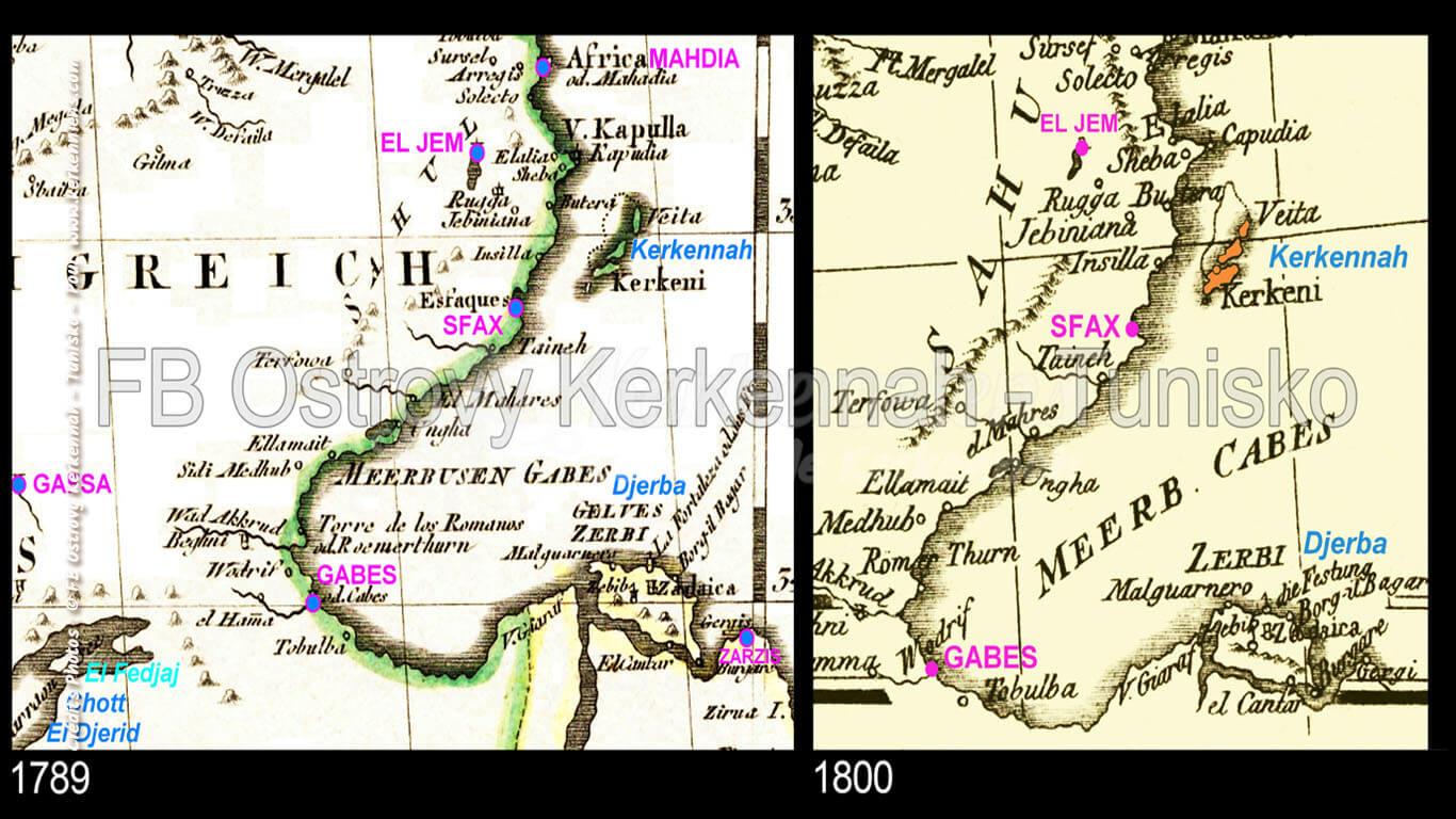 Iles de Kerkennah sur des cartes anciennes (1789 et 1800)
