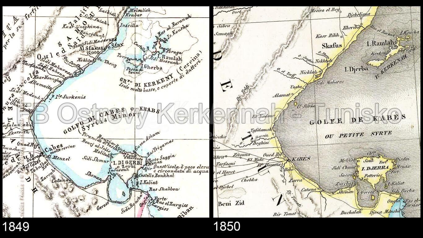 Iles de Kerkennah sur des cartes anciennes (1849 et 1850)
