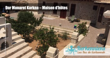 Vue sur le jardin Dar Manaret Karkna maison hôtes Kerkennah Tunisie