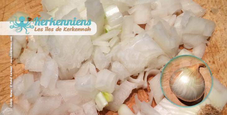 Oignon en mirepoix signifie le couper en dés Kamounia au poulpe (bel karnit) Kamounia bel 9arnit