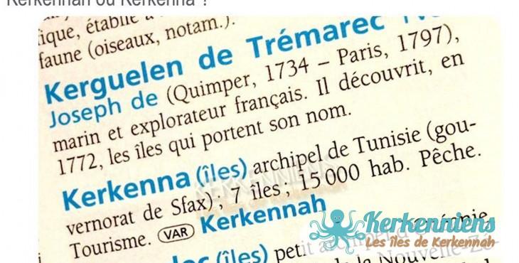 Orthographe : Les îles Kerkena, Kerkennah, Kerkenna, Kerkenah Tunisie