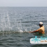 Pêcheurs qui battent l'eau avec de grands bâtons