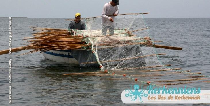 Déploiement du filet de pêche