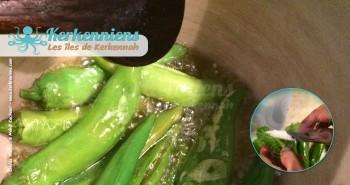 Piments vert (Doux ou piquant) (Filfil har) couscous aux calmars farcis (Kosksi bel mattik mehchi)