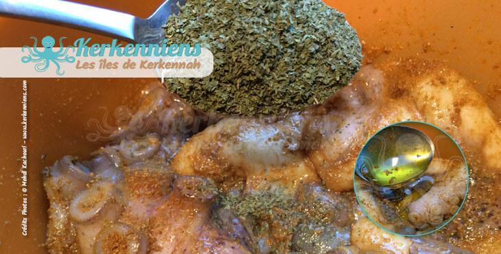 Poulpe karnit huile olive menthe séchée recette cuisine Kerkenniens