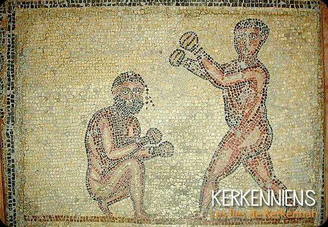 Pugilistes aux prises, Thuburbo Majus, fin IIIe s. ap. JC, Musée du Bardo (Tunis) wikipedia Kerkenniens