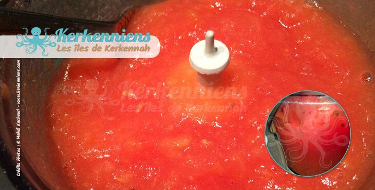 Recette de cuisine sauce kerkenaise-tomates mixées kerkennaise