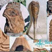 Mélange de photos de sculpture sur bois de palmier Izaro (Najib Bousabbah) Artiste Peintre et Sculpteur
