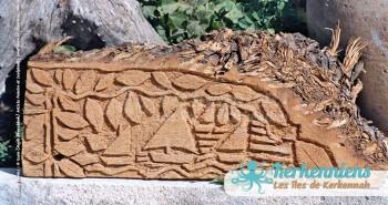 Sculpture sur bois de palmier Kerkennah voile latine Izaro (Najib Bousabbah) Artiste Peintre et Sculpteur El Maghaza