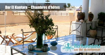 Terrasse vue sur mer Dar El Kantara Chambres d'hotes à Kerkennah Tunisie